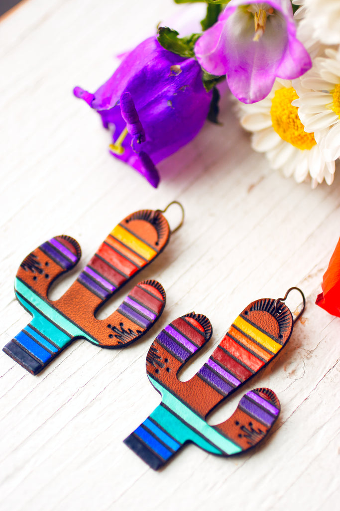 Sonoran Sunset Saguaros handpainted leather earrings