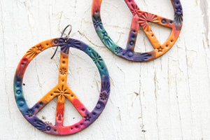Reserved for Susie - Original Size Tie Dye Galaxy Peace Sign Earrings