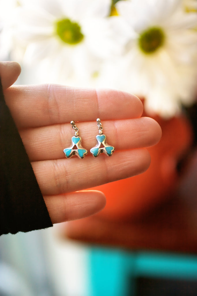 Vintage Turquoise Triple Heart Post Earrings