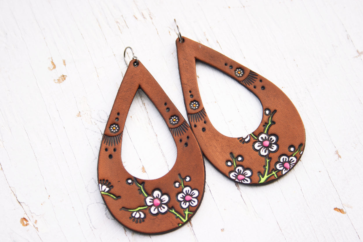 Teardrop Cherry Blossom and Daisy Leather Earrings