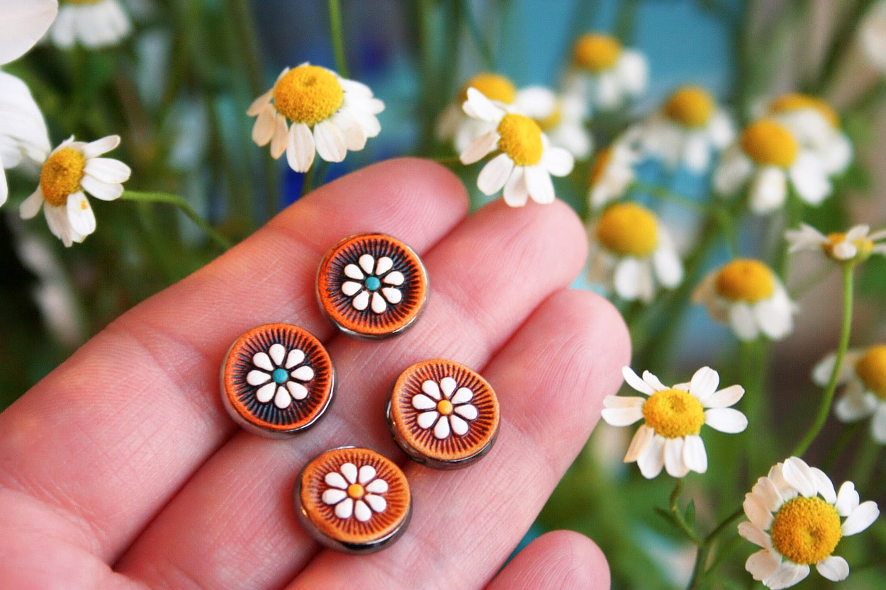 Floral Leather Stud Earrings