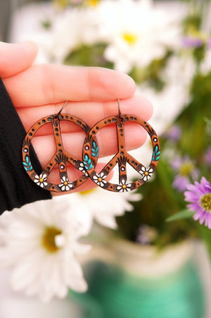 Reserved for MC - Baby Daisy Peace Symbol Earrings
