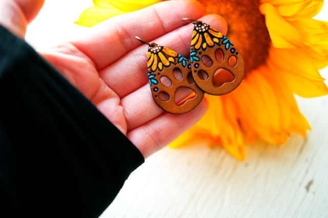Reserved for Susie - Sunflowers and Paw Prints Leather Earrings