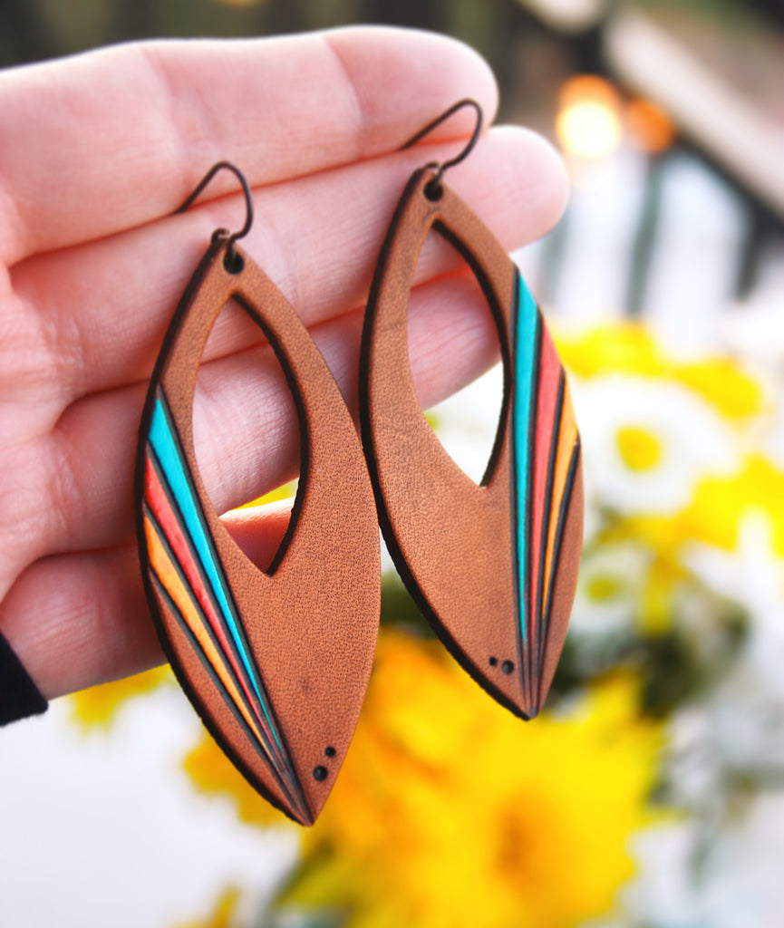 Ventura Highway painted leather earrings