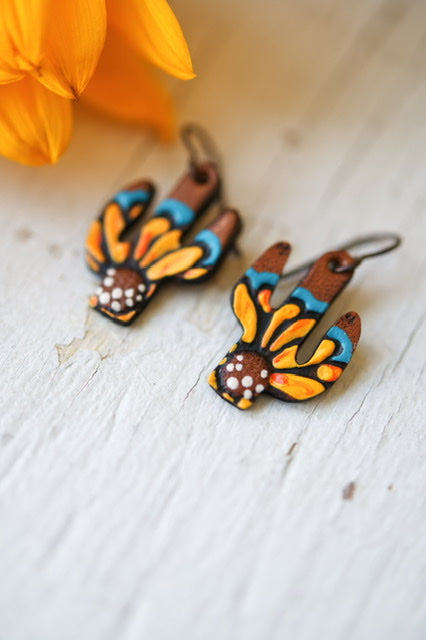 Reserved for Cassie - Mini Sunflower Cactus Leather Earrings