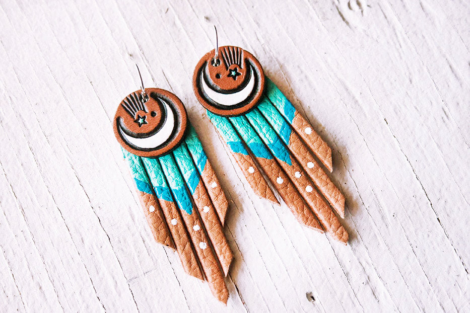 Crescent Moon & Shooting Star Teal Fringe Leather Earrings