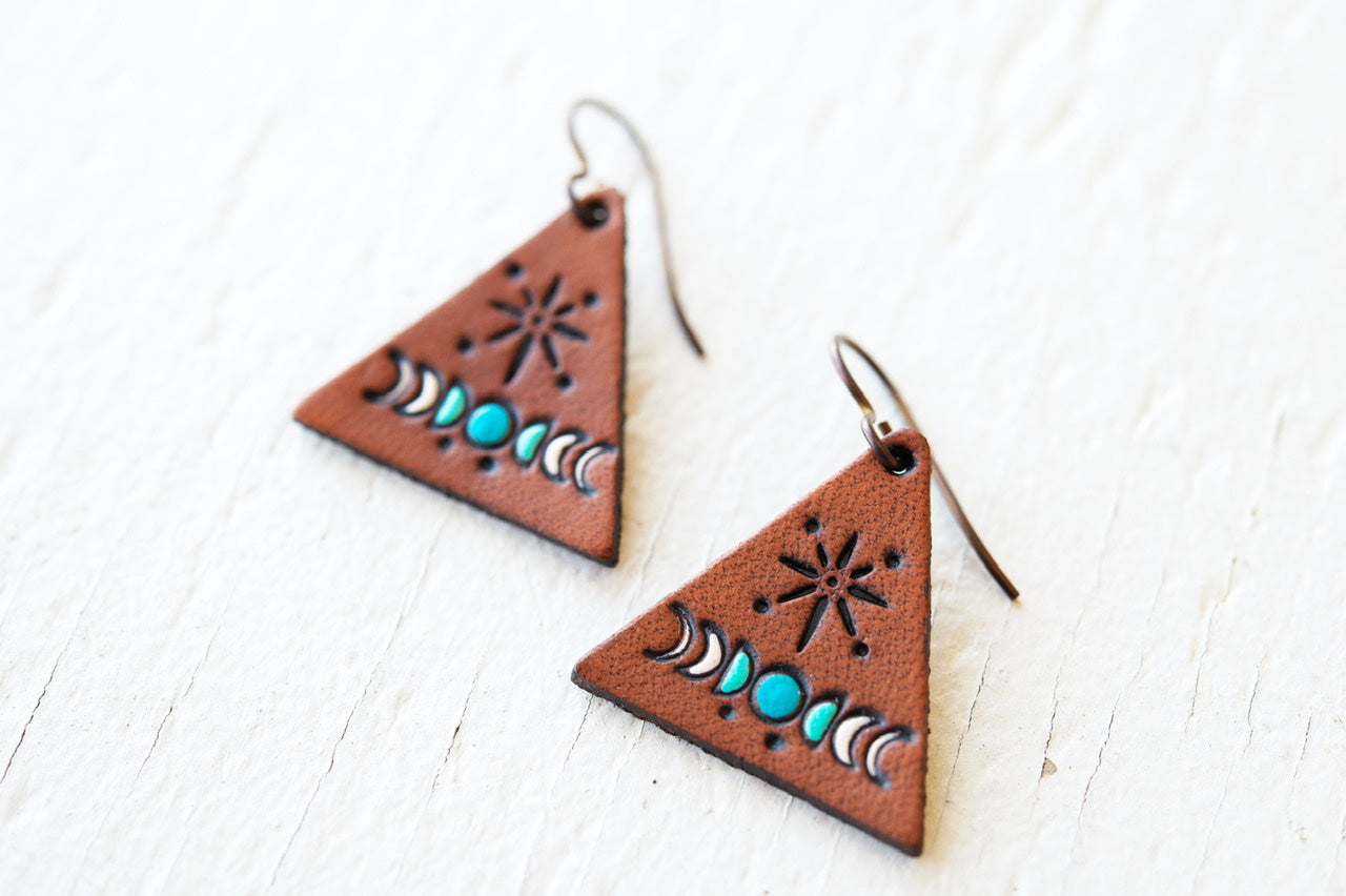 Reserved for Emily - Moon Phase Triangle earrings