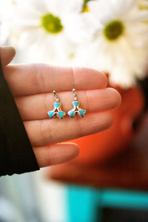 Reserved for Julia:  Pair of Turquoise triple heart earrings