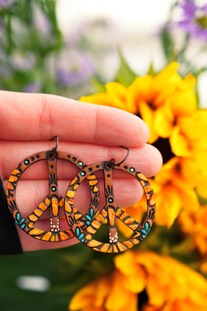 Reserved for Ashley - Baby Sunflower Peace Symbol Earrings