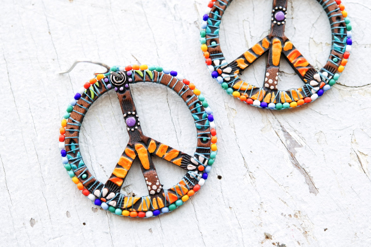Reserved for Tina - Baby Rainbow Beaded Peace Sign Earrings