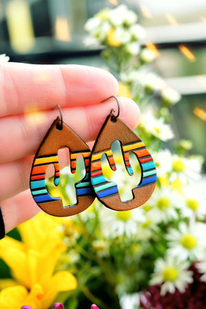 Sunset Serape Cactus Leather Earrings