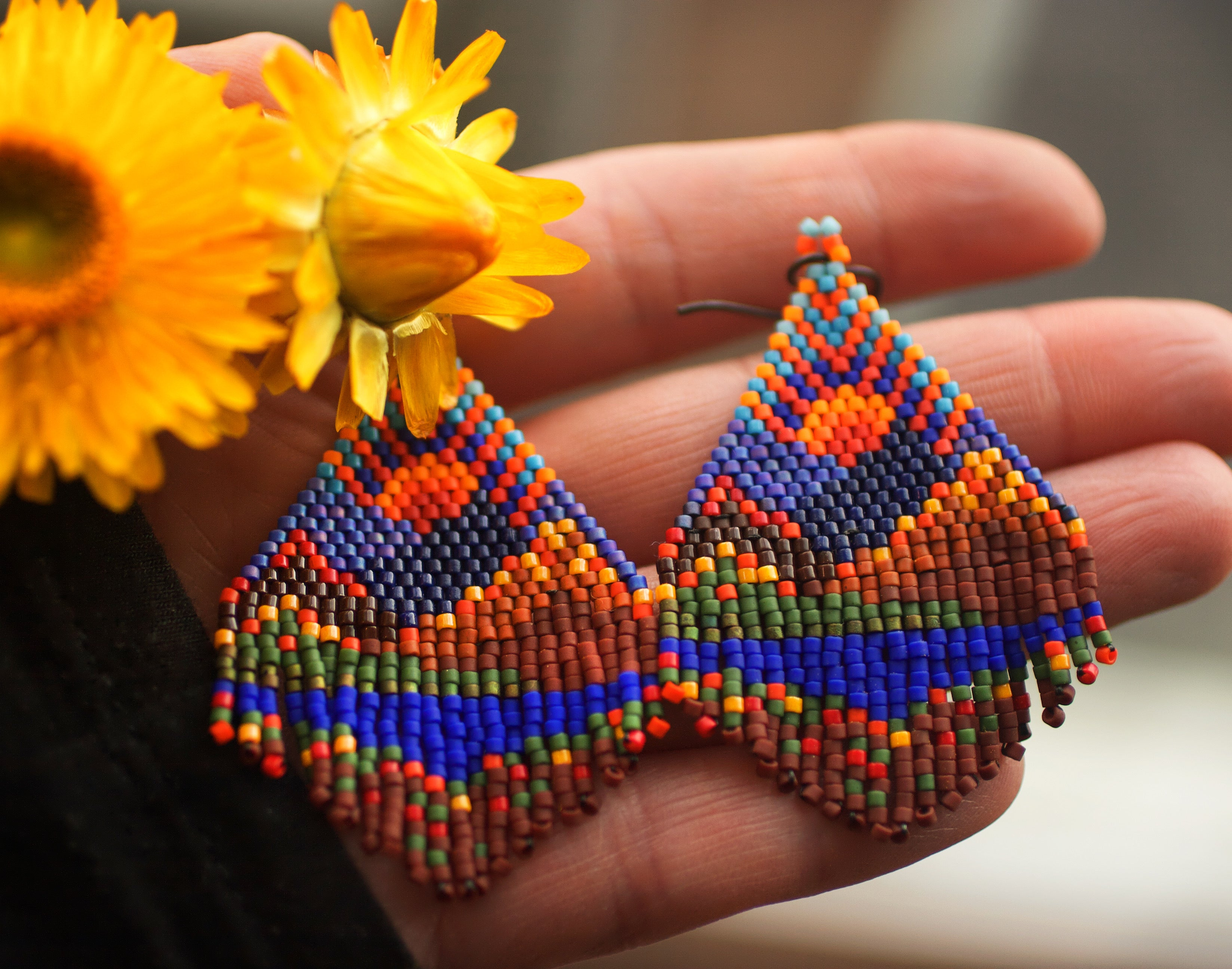 Autumn in the Mountains - Beaded Earrings