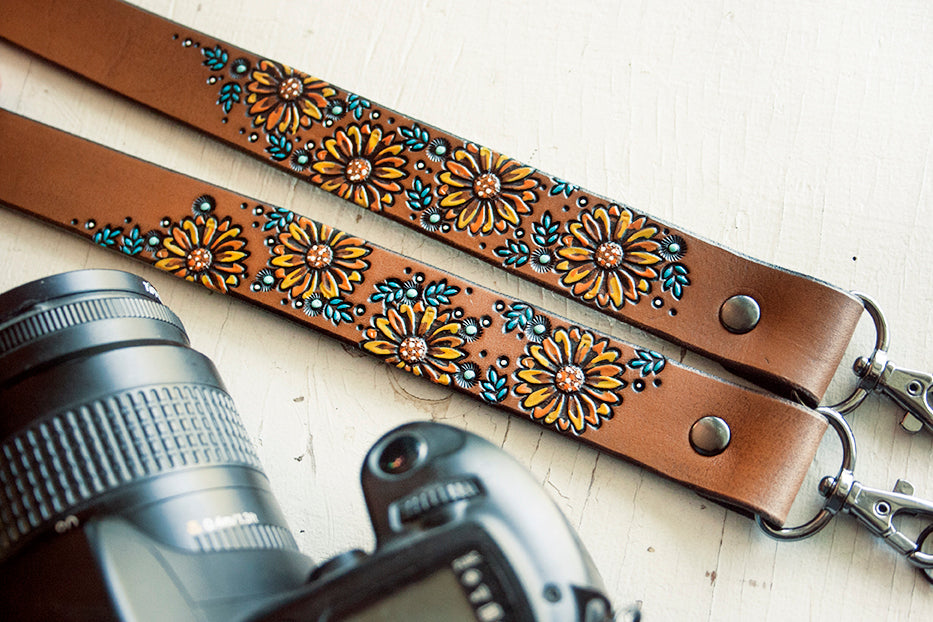 Reserved for Becky - Custom Leather Sunflowers Camera Strap