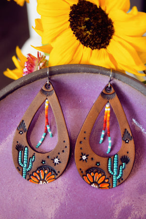 Desert Nights Leather and Beaded Teardrop Earrings