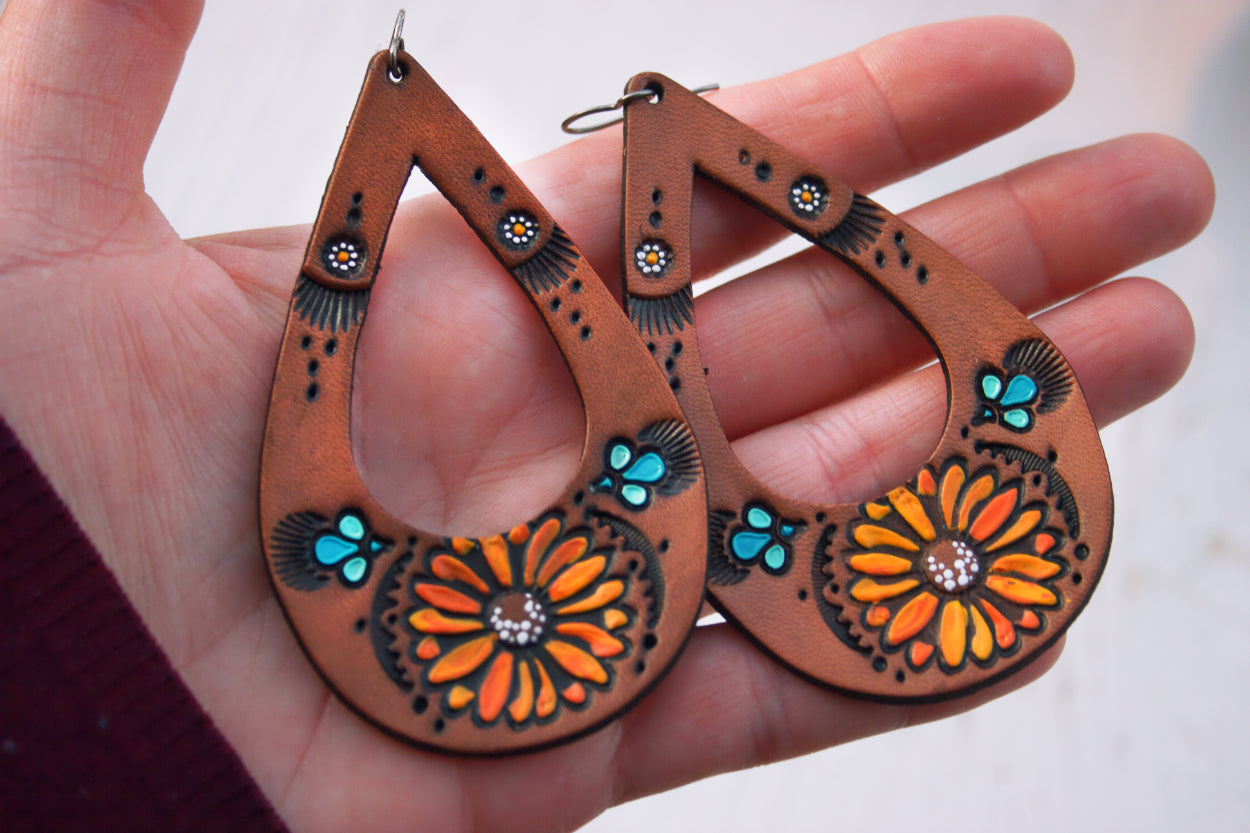 Teardrop Sunflower and Daisy Leather Earrings