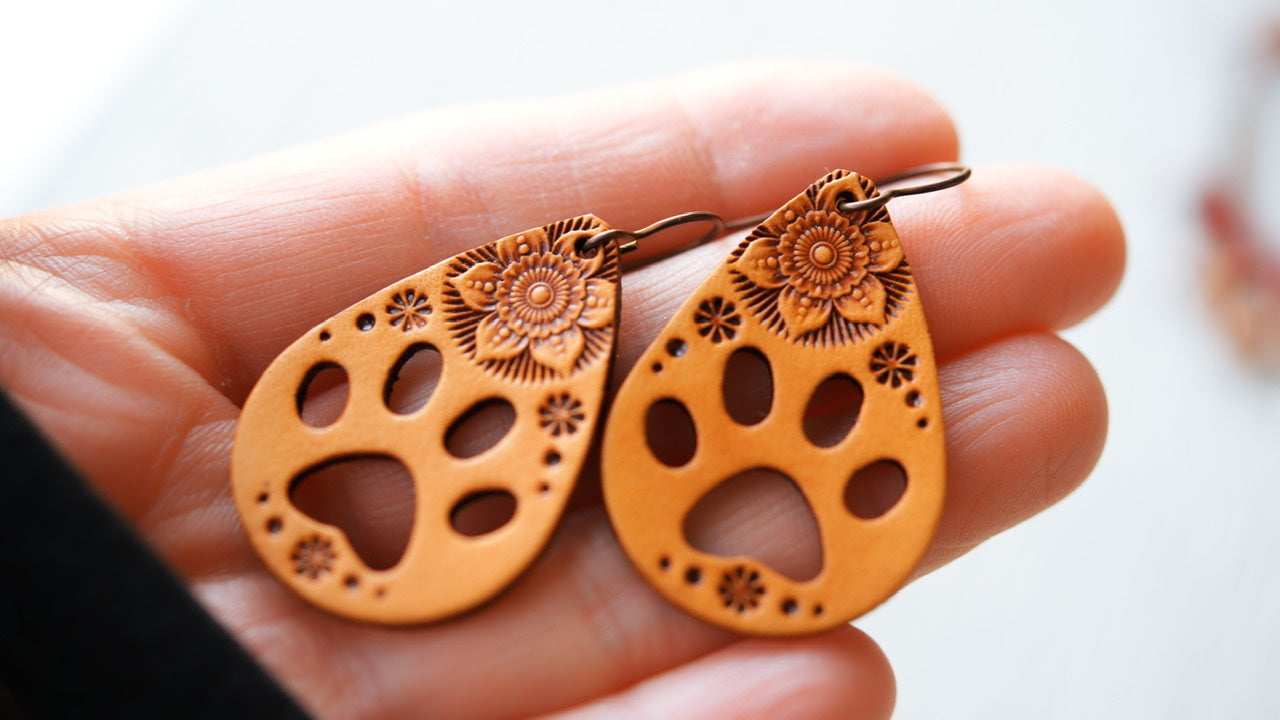 Mandala & Paw Print Earrings
