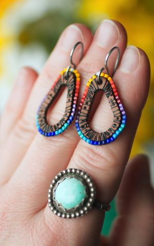 Color Wheel Teardrop beaded and leather earrings