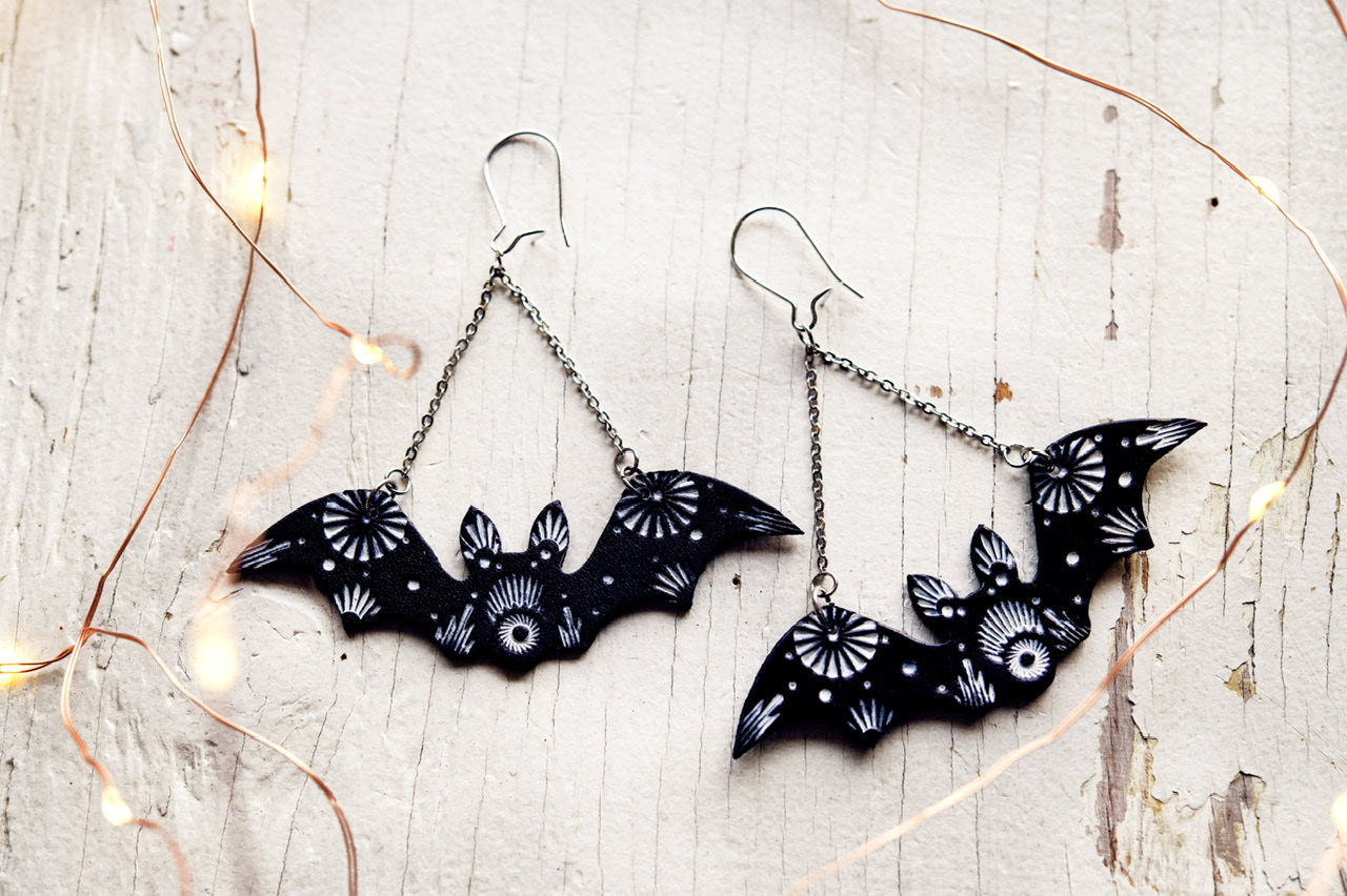 Reserved for Jackie - Bat Earrings