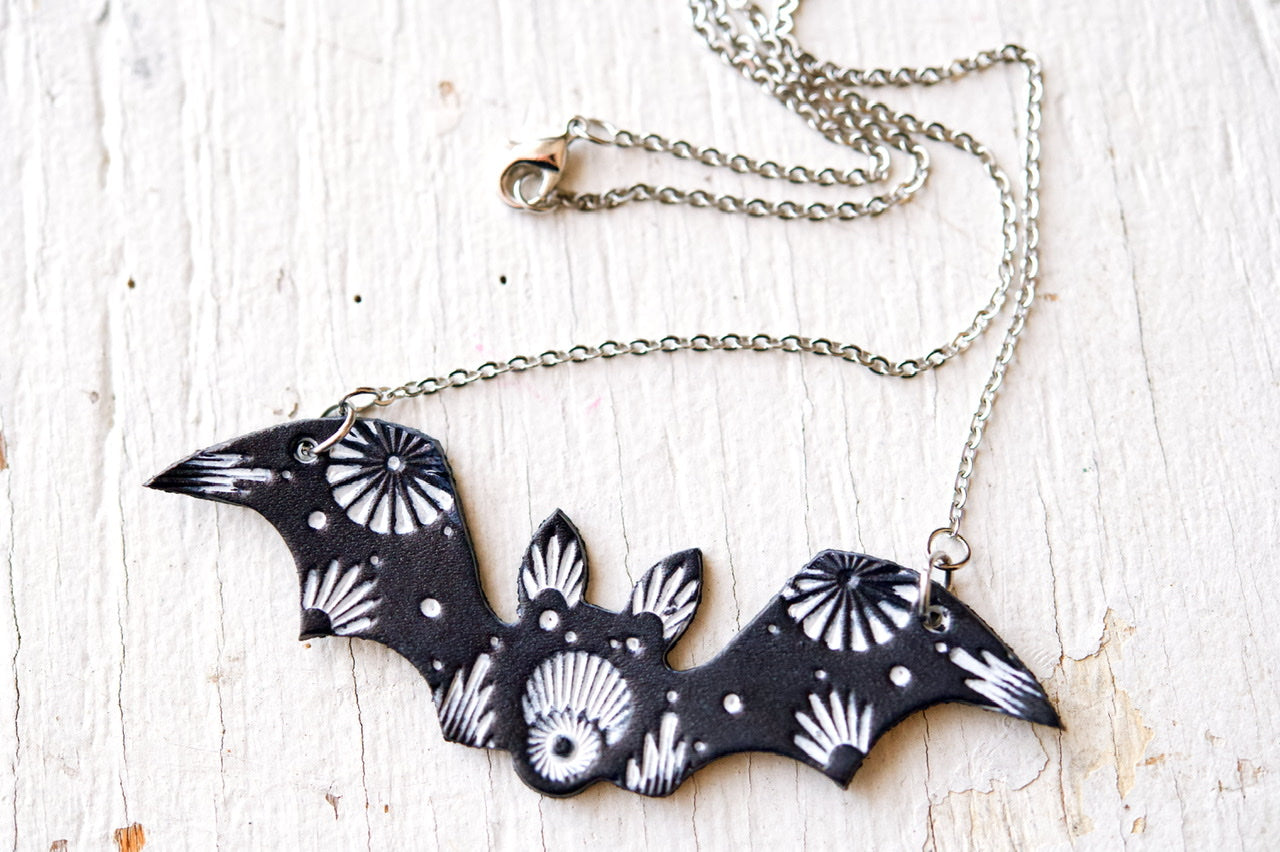 Reserved for gritcitykt - Bat Leather Necklace