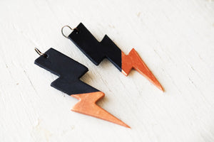 Reserved for Phoenix - Rock 'n Bolt Leather Earrings - Black and Rose Gold