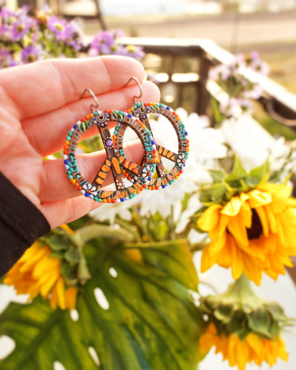 Rainbow Beaded Peace Sign Earrings - Pick your Size
