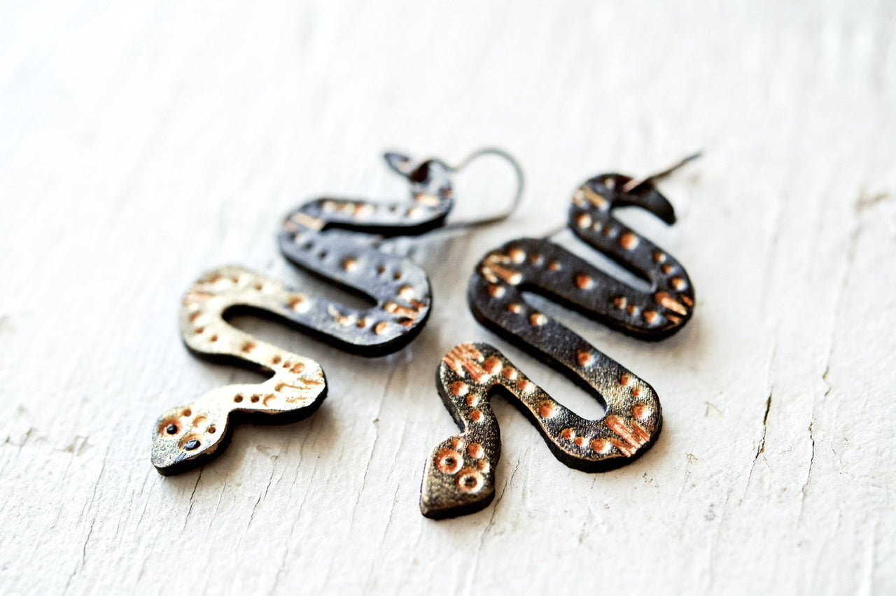 Reserved for cayman.claire - Rose Gold Snake Earrings
