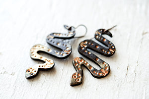 Reserved for Phoenix - Rose Gold Snake Earrings