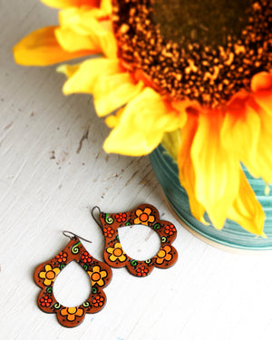 Mod Hippie Daisy Leather Earrings