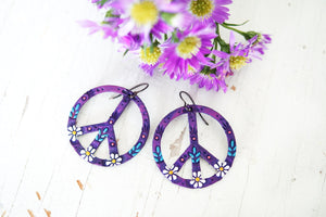 Reserved for Claire - Baby Purple Daisy Peace Sign Earrings