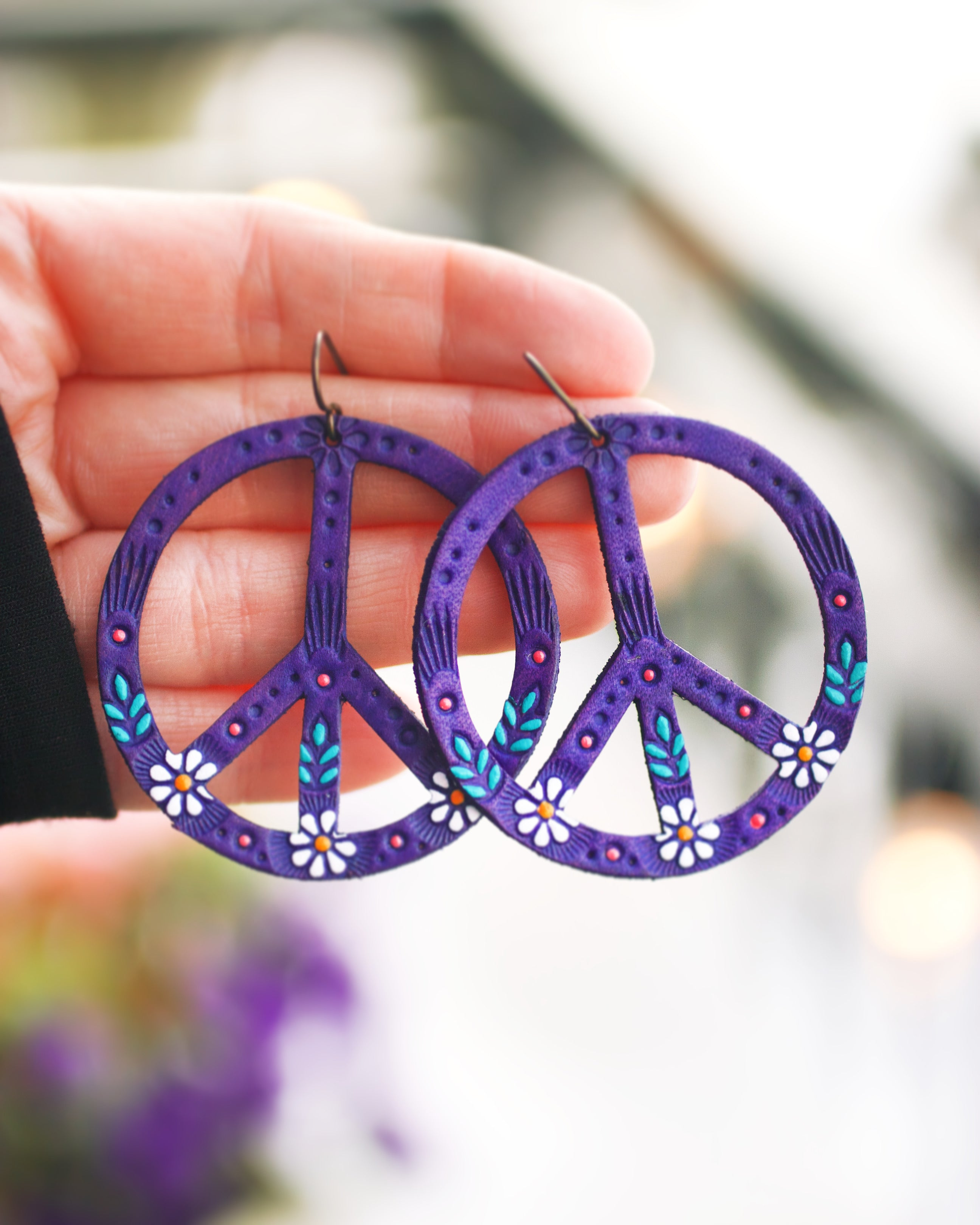 Reserved for Jessica - Original Purple Daisy Peace Sign Earrings