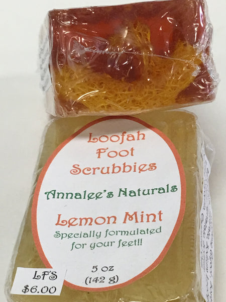 Natural and essential oil soap with a loofah embedded in the bar.  A treat for your feet.