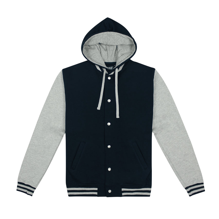 The Hooded Letterman Black/Grey / XXS