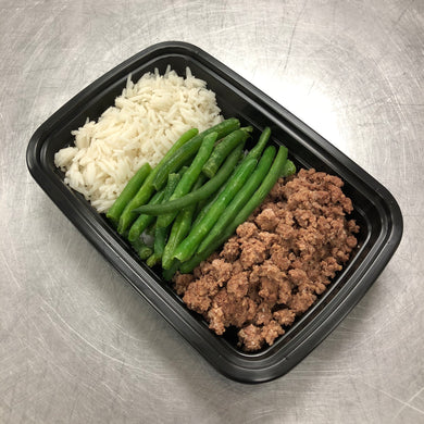 Low Carb Beef with Rice and Green Beans