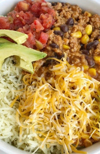 Family Size Turkey Taco Bowl w-Cilantro Lime Rice