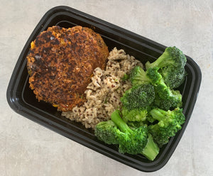 Family Size Spicy Black Bean Burger w-Quinoa & Broccoli