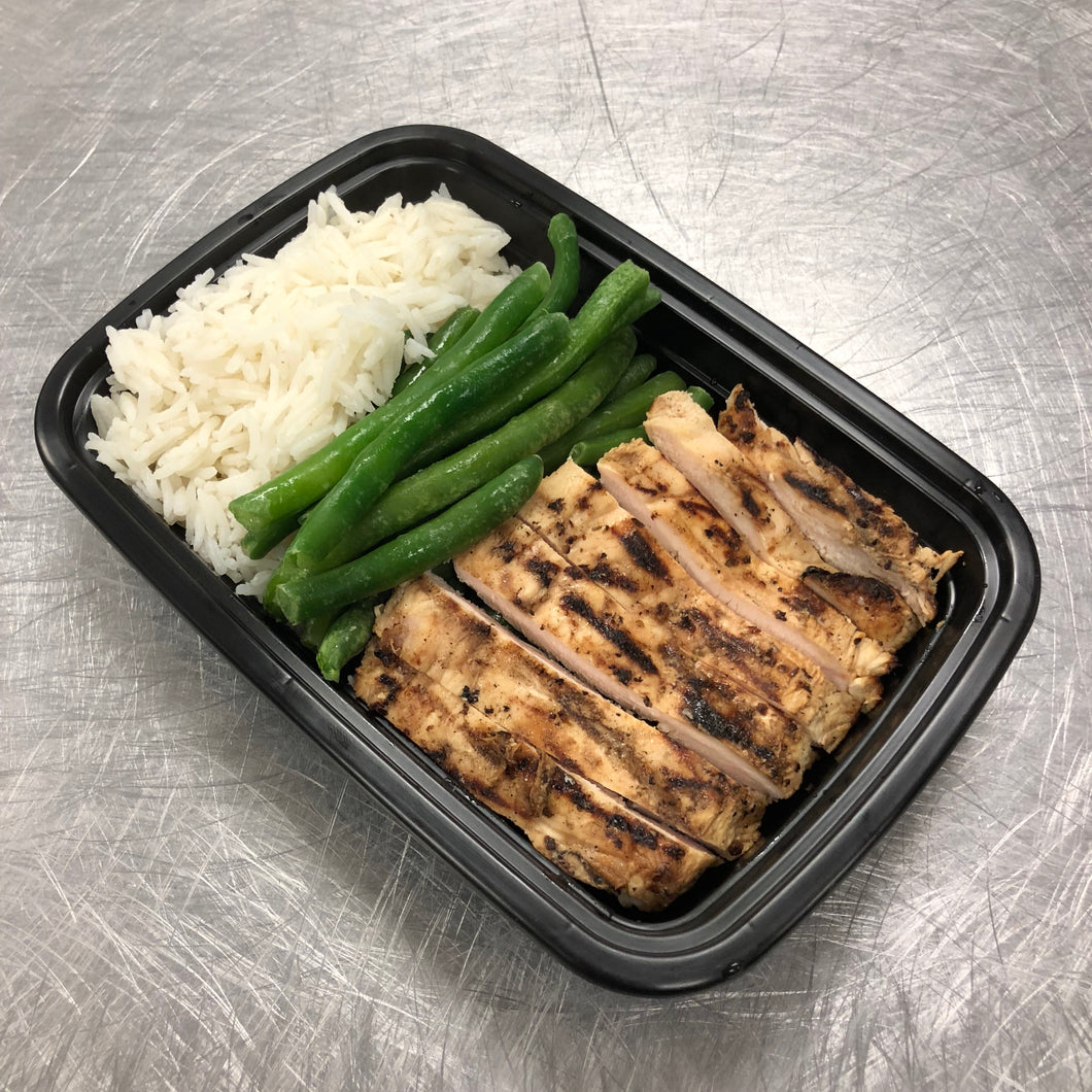 Honey BBQ Chicken w-Rice and green beans