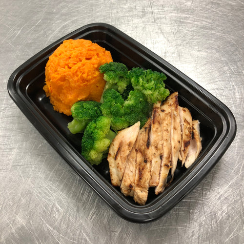 Lean Down Honey BBQ Chicken with Sweet Potato and broccoli