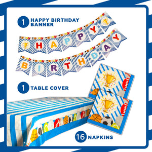 Sports Champ Birthday Party Supplies Decorations & Tableware Kit