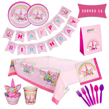 Load image into Gallery viewer, Unicorn Birthday Party Supplies Decorations & Tableware Kit