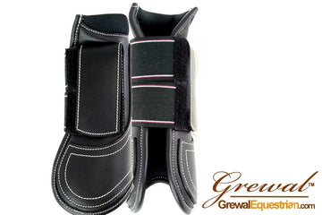 Black Leather Open Front Tendon Boots