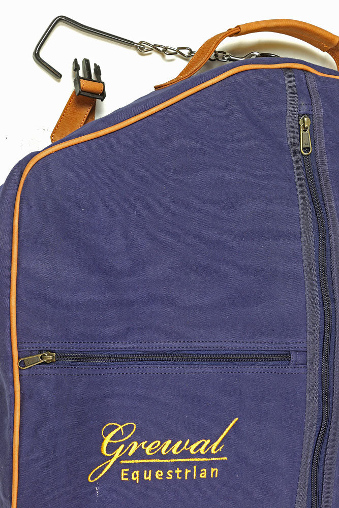Navy Blue Garment Bag with Leather Trim
