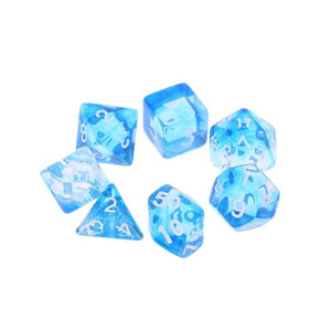 7pcs/set Transparent Sided Dice D4 D6 D8 D10 D12 D20 Acrylic Digital Dice For Dungeons & Dragon D&D RPG Poly Table Board Game