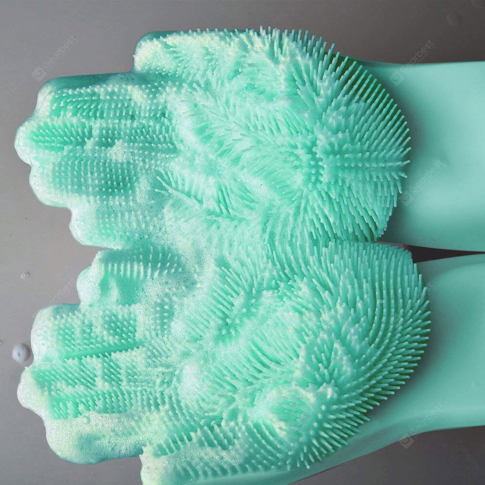 1 Pair Magic Silicone Dish Washing Gloves Eco-Friendly Scrubber Cleaning Other_Kitchen_Accessories