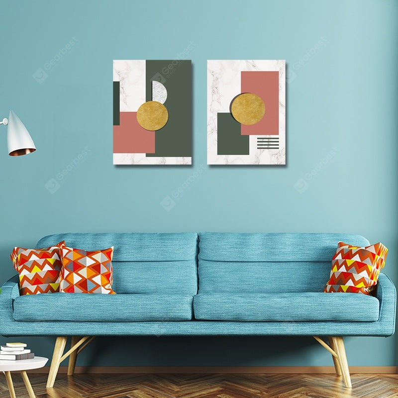 Nordic Fashion Geometric Patterns Print Art 2PCS Wall_Art