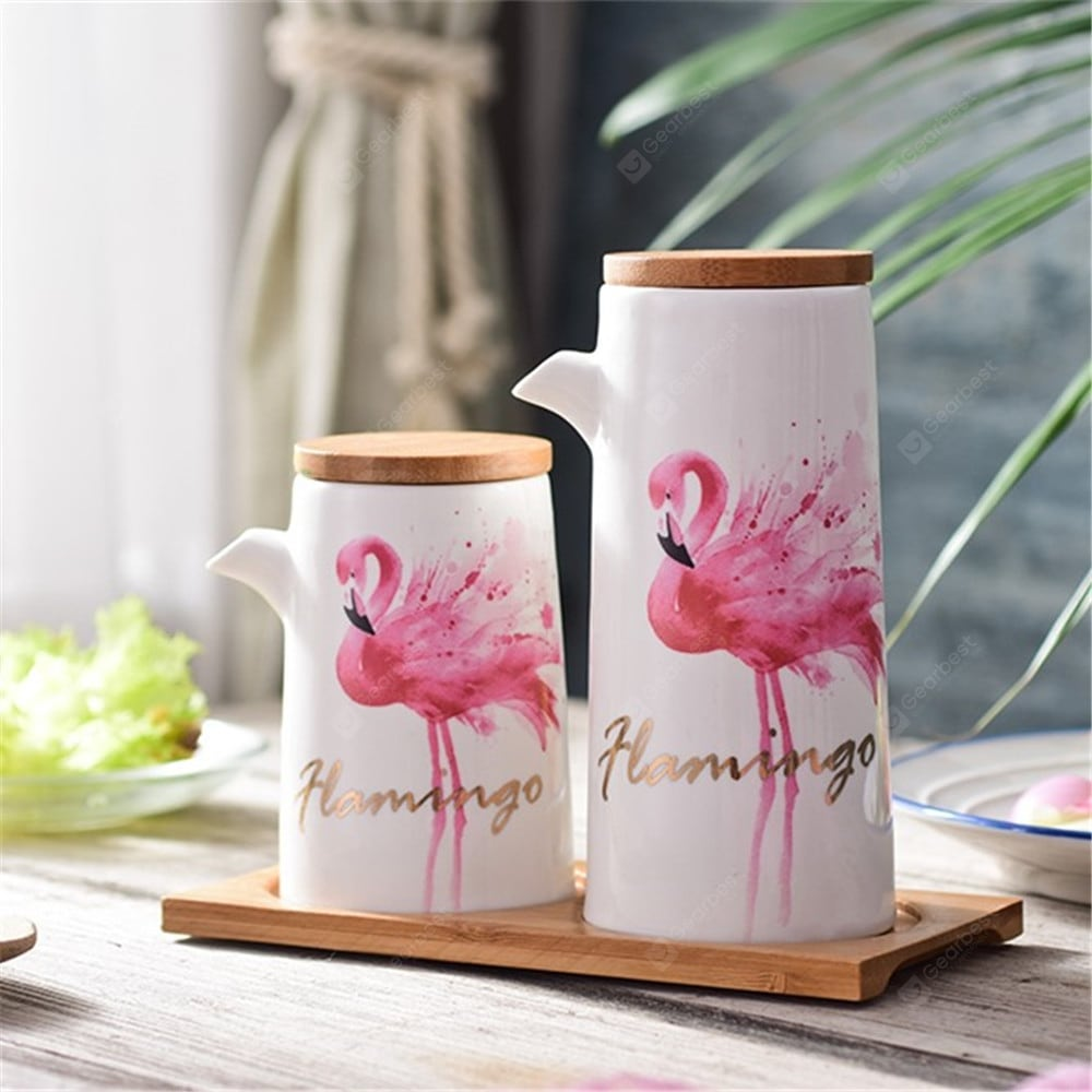 Modern Style Flamingo Patte Oil Bottles With Wooden Tray Other_Kitchen_Accessories