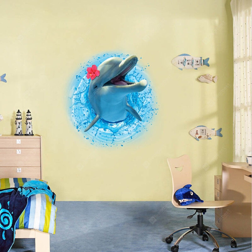 Dolphin 3D Three-Dimensional Wall Stickers New Creative Decoration Wall_Art