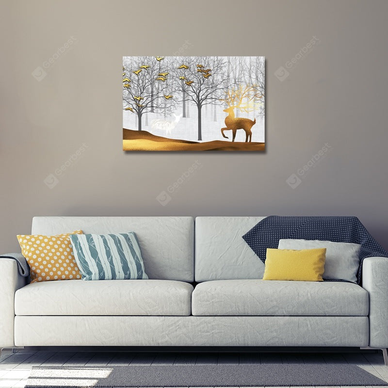 Wild Deer in Cartoon Forest Print Art Wall_Art