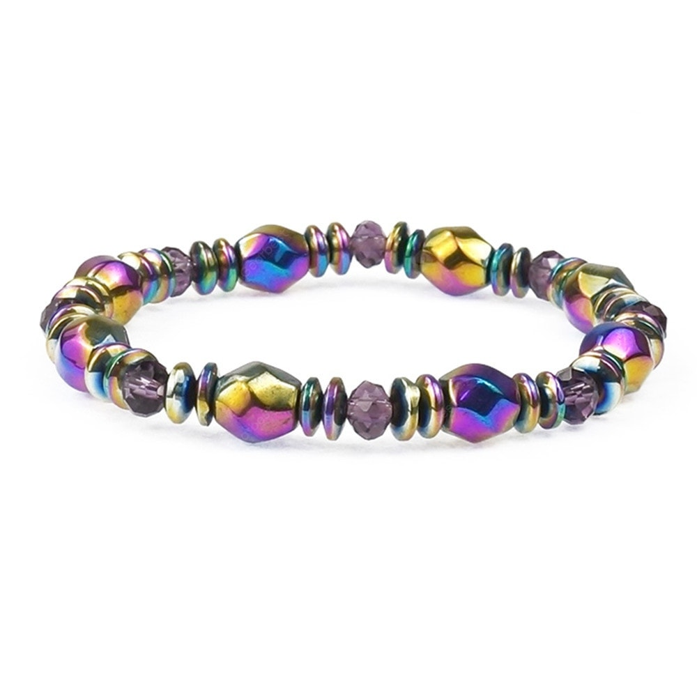 Multicolor Magnetic Beads Hematite Stone for Therapy Health Care Men Bracelets&Bangles