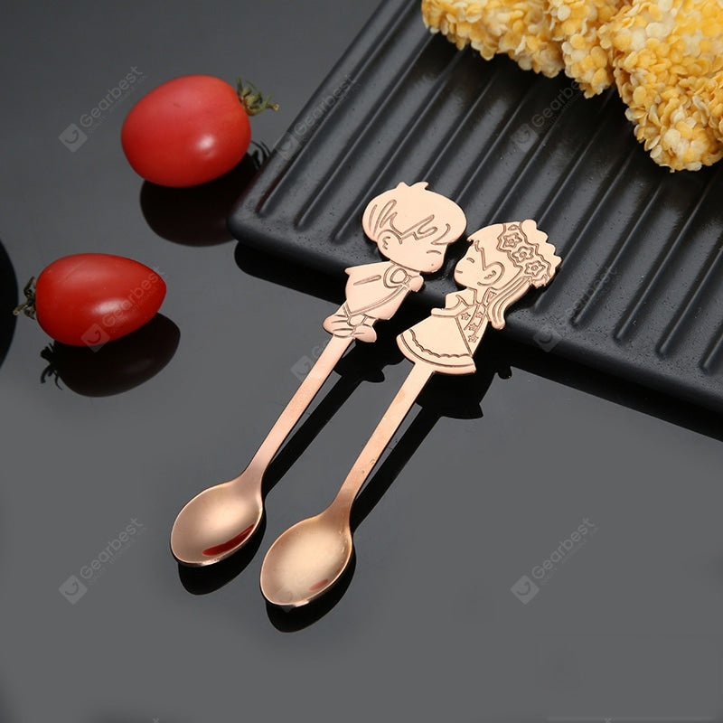 Newly 2PCS Coffee Spoons Gift Set 304SS Lover Mini Small Spoon for Romantic Wedding Cutlery Boys and Girls Drawing Table Dinnerware