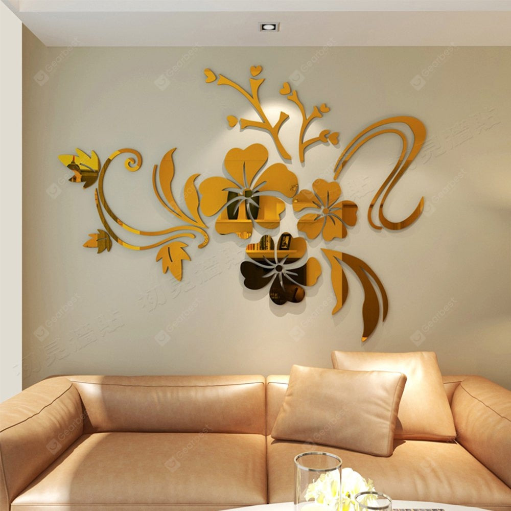 3D Stereo Flower Wall Mirror Wall Stickers Wall_Art